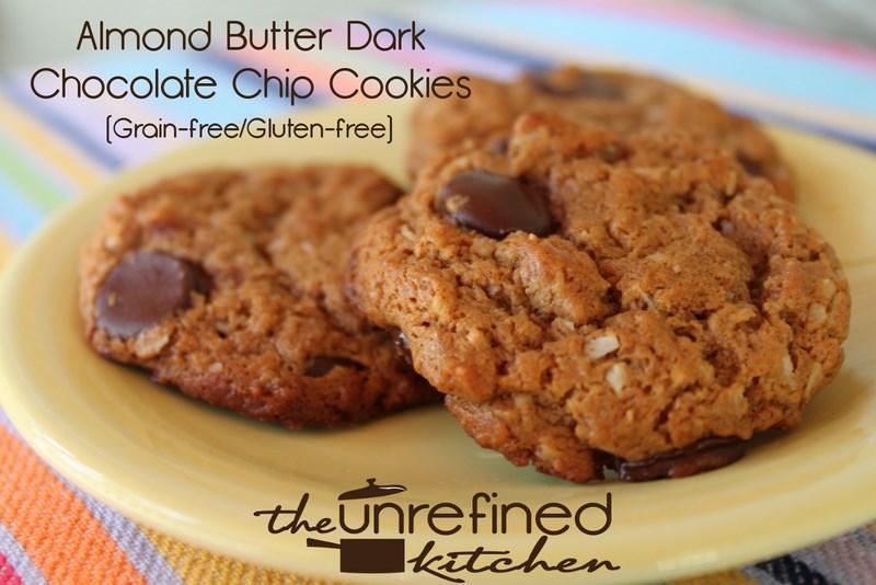 Almond Butter Dark Chocolate Chip Cookies